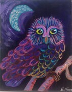 Pink owl blue moon